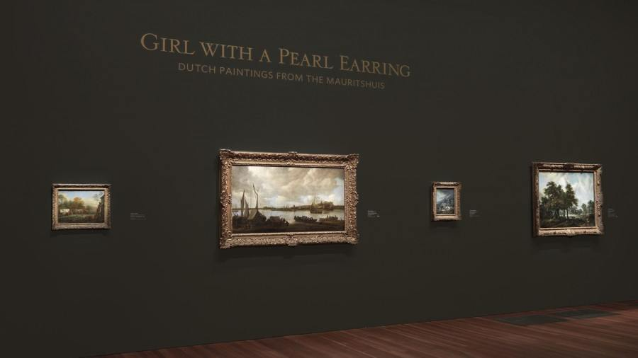 A view of the deYoung gallery in San Fransisco, the Girl with the Pearl Earring art exhibit using custom dry transfers on walls for captions and painting descriptions