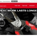 Screenshot of Milwaukee Tool's website with photos of the same tools as above with our custom dry transfers applied to finish the logo on the product prototypes.