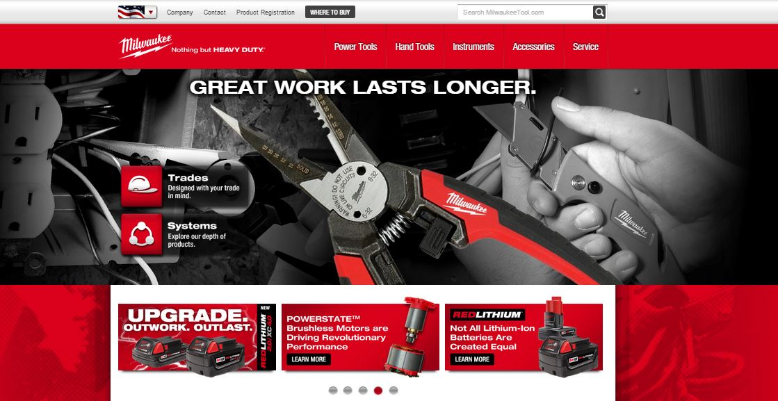 Screenshot of Milwaukee Tool's website with photos of similar tools as above with our custom dry transfers applied to finish the logo on the product prototypes.