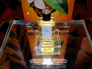 A glass display case for Prada Perfume with white custom rub down transfers adhered to the surface.