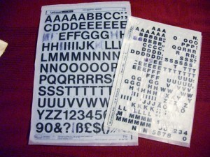 A vintage photo of a Letraset rub down lettering. Letraset transfers were a very popular replacement for letter stamp printing.