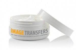 a coldcream jar with a custom dry transfer
