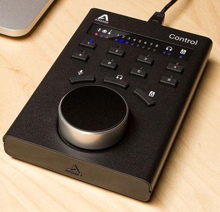 A close up product photograph of a video control device by Apogee Electronics. We produced custom dry transfers for their control labels and instrument panel decals