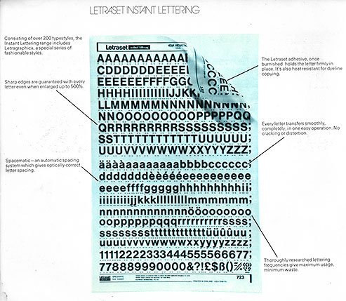 A Pre Printed Sheet of Letraset Instant Transfers from the 1960s