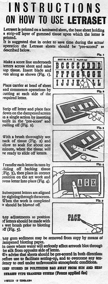 Instructions on How to Use Letraset Instant Lettering