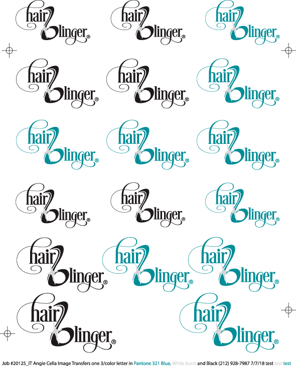 Vector art from the Hair Blinger with uses our dry transfers for their logo artwork.