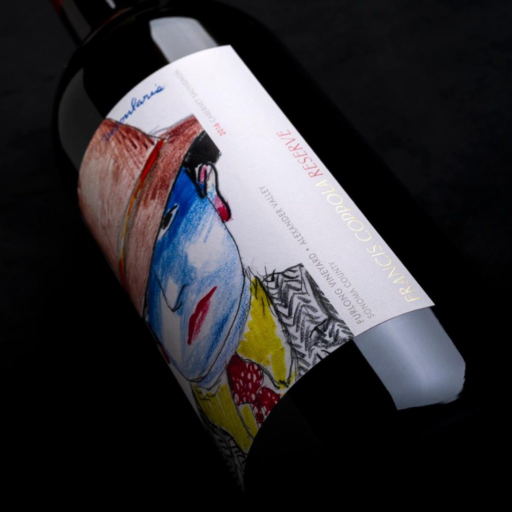 Wine bottle labels made using custom dry transfer decals by Image Transfers.