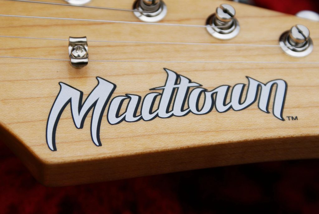 Closeup detail of a custom guitar decal for Madtown by Image Transfers