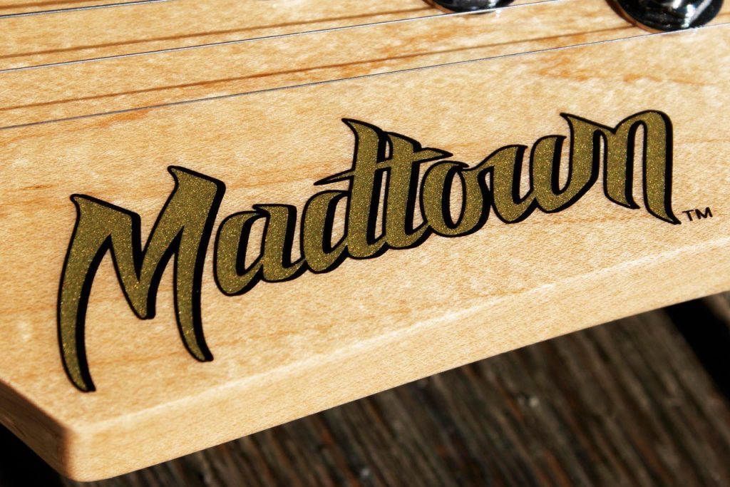 A custom guitar decal especially made for Madtown guitars by Image Transfers. Dry transfer decals for guitars.