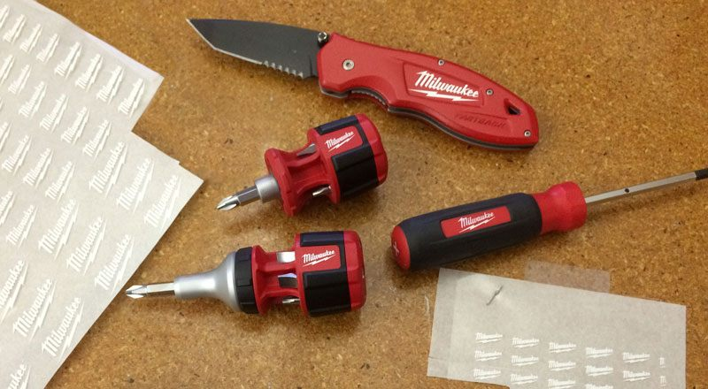 Our custom rub down transfers on a new tool prototype by Milwaukee Tool. Custom transfers add that finishing touch to all product prototypes, making them ready for presentation by the developers.