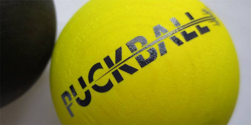 Introducing the PuckBall, a new hybrid toy that's a cross between a ball and a hockey puck by Crossley. Image Transfers supplied the dry transfer logo for this product prototype.