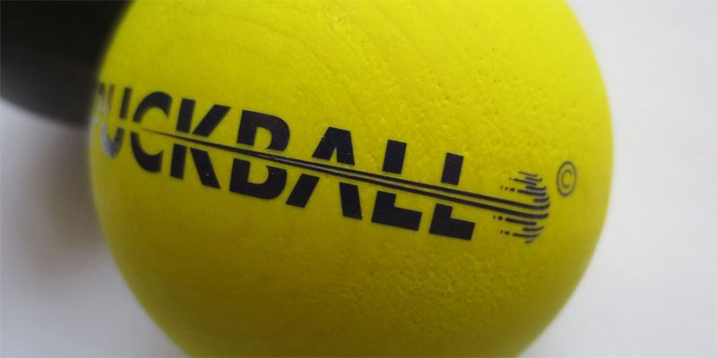 A close up detail of the Puckball logo made into a custom rub on transfer by uploading their vector art.